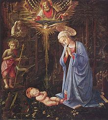 """""""Adoration in the Forest is a painting completed before 1459 by the Carmelite friar, Filippo Lippi, of the Virgin Mary and the newly born Christ Child lying on the ground, in the unusual setting of a steep, dark, wooded wilderness. There are no shepherds, kings, ox, ass – there is no Joseph. """"Lippi removes a whole range of narrative details which would have been present in a standard Nativity - he creates a whole set of mysteries, and then preserves them."""""""" Wikipedia"""