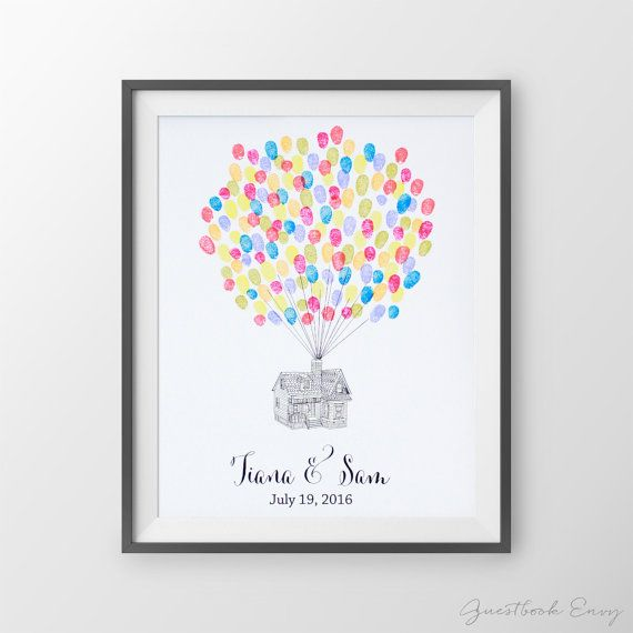 Wedding Guest Book: Up House fingerprint guest by GuestBookEnvy