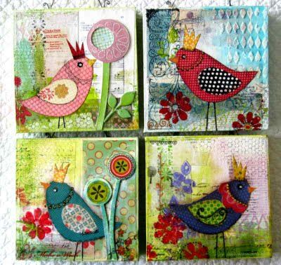 love mixed media, love bird art - I'm for sure doing these with my class!!!