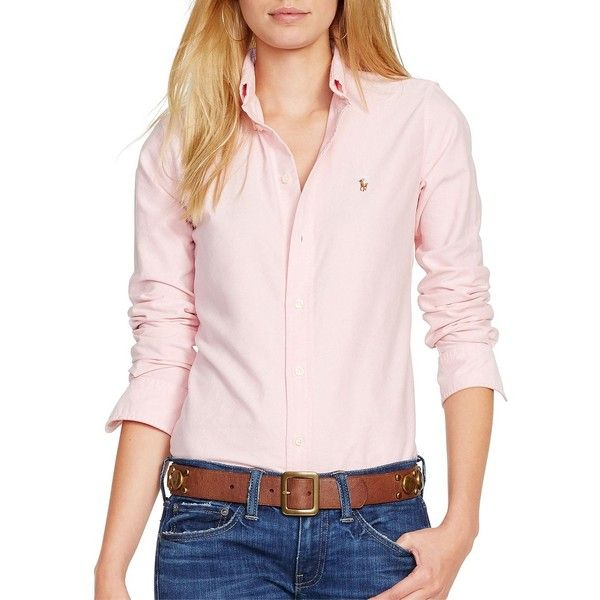Polo Ralph Lauren Women's Custom Fit Oxford Shirt ($90) ❤ liked on Polyvore featuring tops, pink, cotton polo shirts, polo button down shirts, long-sleeve shirt, pink button down shirt and pink shirt