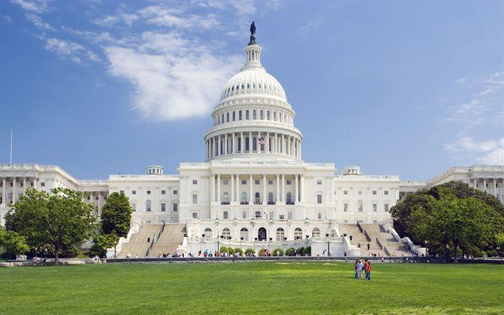 Télécharger fonds d'écran Capitol, le Congrès AMÉRICAIN, à Washington, etats-unis, le néo-Classicisme, le Washington Monument