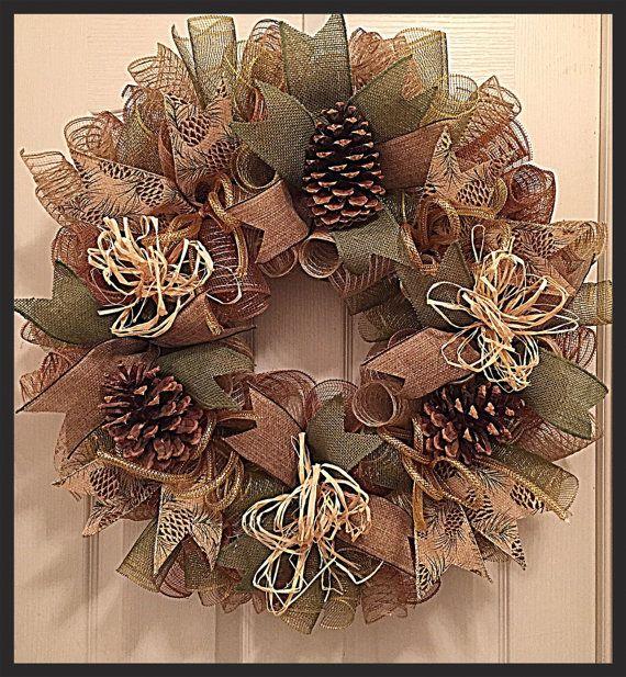 Cabin Pinecone Deco Mesh Wreath/Pinecone by CKDazzlingDesign