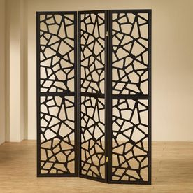 Coaster Fine Furniture 3 Panel Black Wood Folding Indoor Privacy Screen  900092