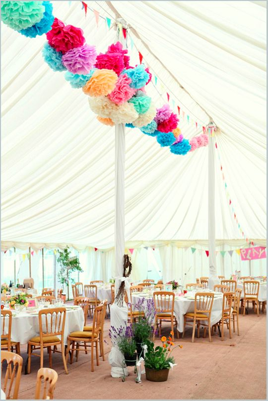 marquee with pom poms
