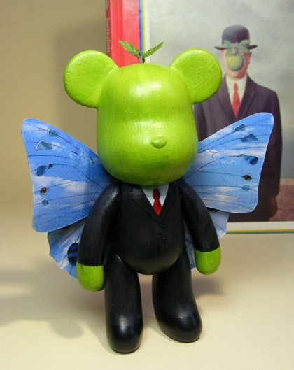Le Fils de L'Ours : The Son of Bears, after Magritte. customised vinyl bear by Patricia Denis