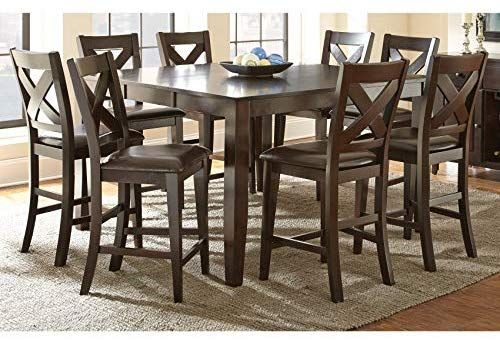Amazon Com Greyson Living Copley Counter Height Dining Set Self Storing Leaf Espresso 9 Piece 9 Pi Counter Height Dining Sets Square Dining Tables Dining Set