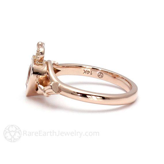Claddagh Ring Morganite Engagement Ring Irish Promise Ring 14K