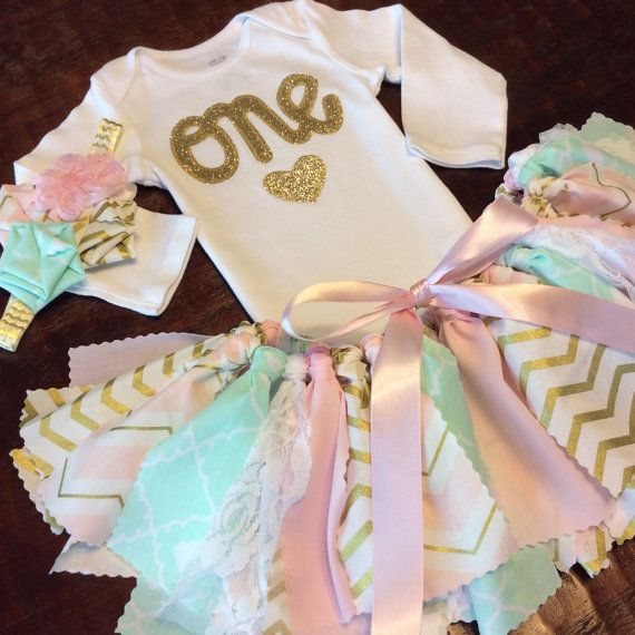 Three Piece Pink, Light Mint, & Gold Glitter with Lace Birthday Outfit  with Onesie/Shirt, Fabric Tutu and Headband ( Teal / Aqua / Green )