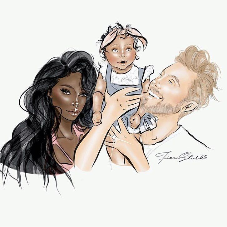 Jamie + Nikki & Ava Perkins. So beautiful family & interracial couple. @jamieandniks Draw from @fionastark