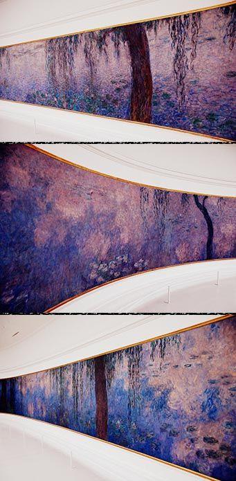 Les Nymphéas (1927) o LOS NENÚFARES de Claude MONET. Estilo: Impresionismo. Se construyó un impresionante jardín en su casa de Giverny y decidió cultivar en él exóticos nenúfares importados de Japón. La disposición de los nenúfares en el agua y los reflejos de los sauces son los únicos motivos interesantes para el artista en éstas sus últimas pinturas.