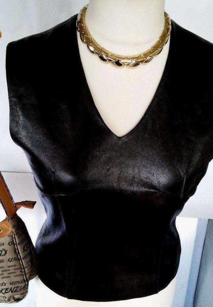 ANN DEMEULEMEESTER original leather top back zipper, soft skin -belgium size 40  #AnnDemeulemeester #KnitTop #Casual