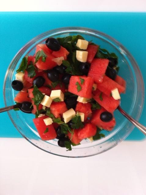 ... watermelon! I use Nigella's version with kalamata olives, torn basil