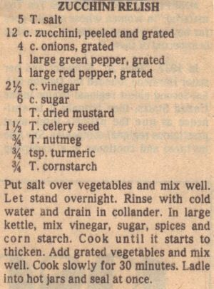 Vintage Recipe Clipping For Zucchini Relish ~ this is the recipe that my mother and grandmother used.