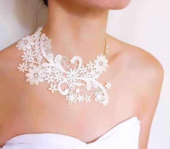 cream white lace choker bib necklace // gold charm by LaceFancy