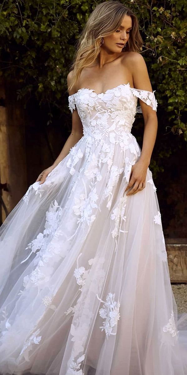 Fashion Forwards Wedding Gowns A Collection Off The Shoulder Floral Lace Blush Madi Lane Off Shoulder Wedding Dress Beige Wedding Dress Wedding Dresses