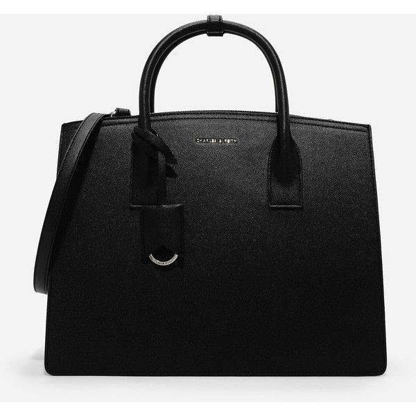 Charles & Keith OVERSIZED STRUCTURED TOTE ($69) ❤ liked on Polyvore featuring bags, handbags, tote bags, structured tote, tote purses, structured tote handbag, zipper purse and structured handbags