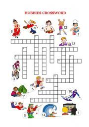 English worksheet: Free time and hobbies - Crossword