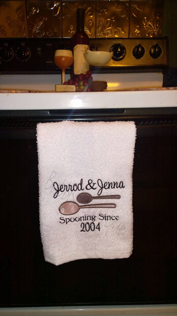 Embroidered Couples Spooning Since Kitchen Towel by MyBubblyBoutique