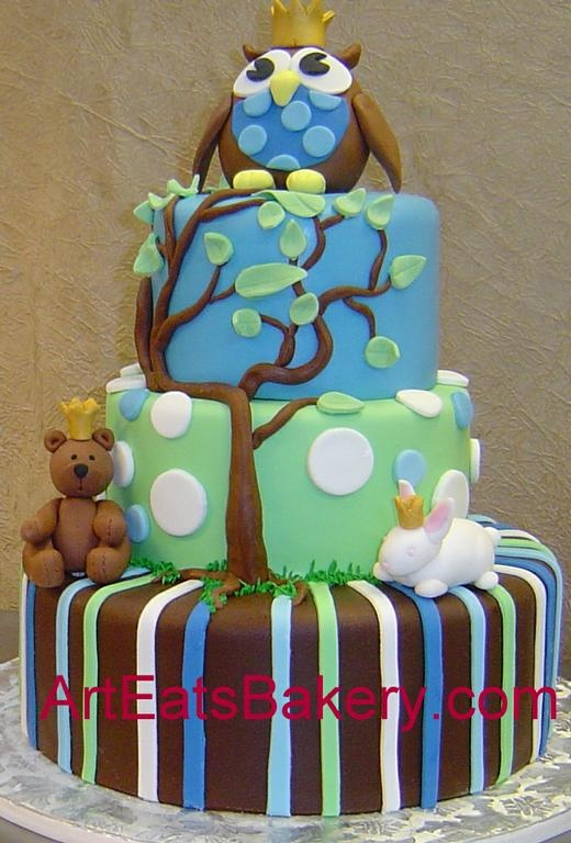 cute: Polka Dots, Baby Shower Cakes, Green And Brown, Teddy Bears, Blue Green, Cakes Design, Brown Stripes, Owl Cakes, Baby Shower