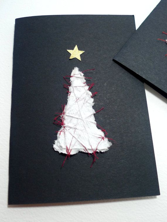 Handmade card Handmade paper Christmas tree card by McRtyCards