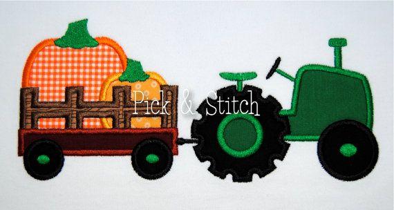 Pumpkin Tractor Fall Hayride Applique Design by pickandstitch