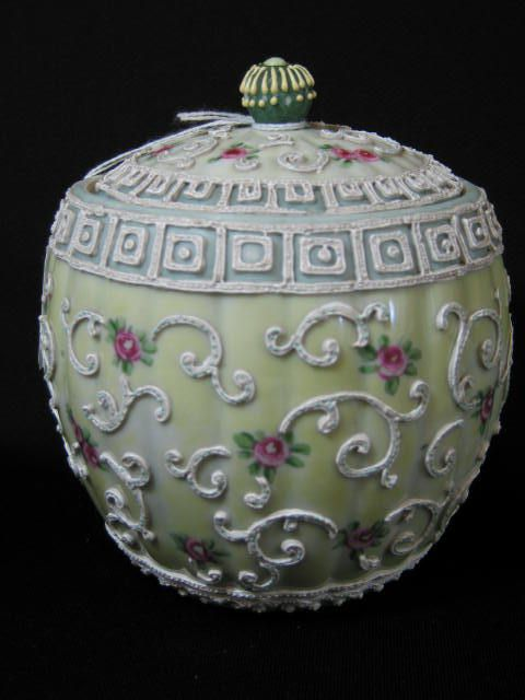 1605: Nippon Moriage Handpainted Biscuit Jar, : Lot 1605