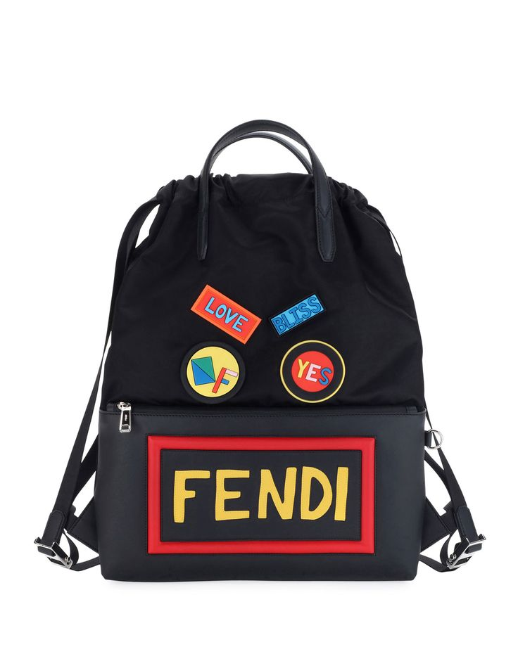 Vocabulary & Faces Nylon & Leather Tote Backpack