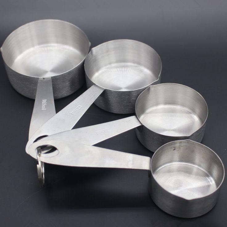 4 peças de aço inoxidável de cozinha conjunto de ferramentas de cozimento de medição alishoppbrasil