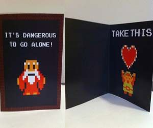 Win the heart of that special geek with these geeky romantic cards. Available individually or as a pack of five, these geeky romantic cards range from Zelda to Duck Hunt to Super Mario themes and will instantly make an old school gamer fall in love with you.  ------ Yessss!! My boyfriend is obsessed with Zelda!