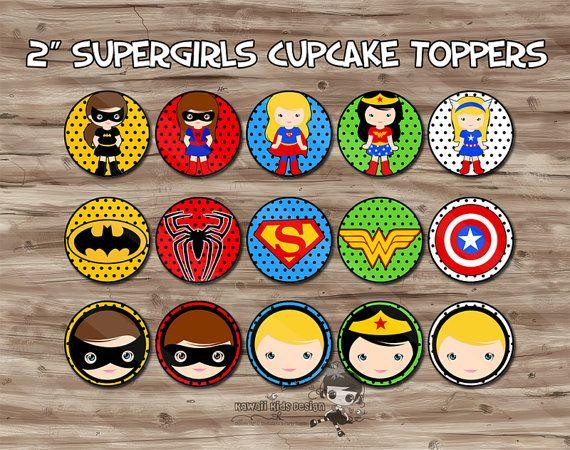 Superhero Girls Cupcake Toppers, Superhero Birthday Party Supplies, Cupcake Toppers, Superhero Party - JPG Digital File, INSTANT DOWNLOAD
