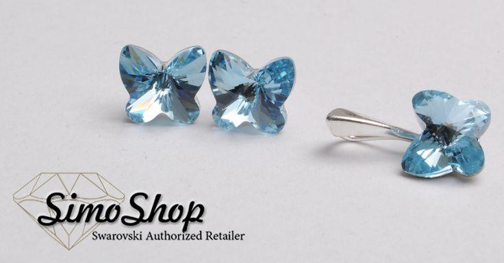 Set pandantiv, cercei swarovski cu bază din argint 925! #simoshop #bijuterii #accesorii #argint #swarovskicrystals #swarovski Like