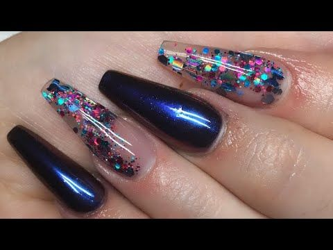 how to apply acrylic nails on yourself with bling
