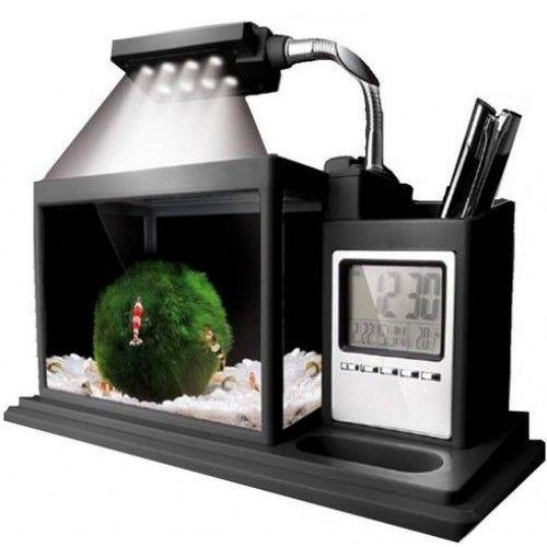 Настольный аквариум AQUAME черный + органайзер (часы, календарь, будильник, термометр, таймер)