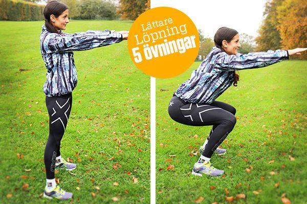 5 enkla övningar som förbättrar din löpning. Löpningen blir lättare med mer styrka & rörlighet vilket ger dig mer energi att orka mer.