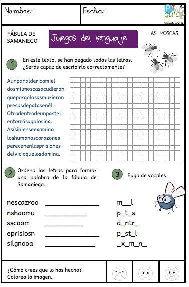 Fábula de Samaniego, Las moscas. Juegos del lenguaje escrito.