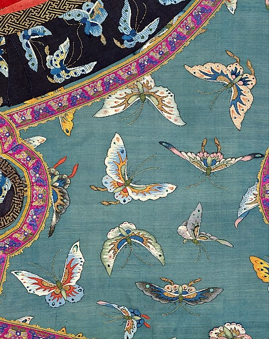 Tapestry-woven (kesi) silk and metallic thread woman's sleeveless jacket, late 19th–early 20th century China #art #textile #butterflies