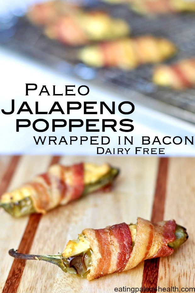 Jalapeno Poppers Stuffed with Hearts of Palm & Wrapped in Bacon| www.eatingpaleo4health.com