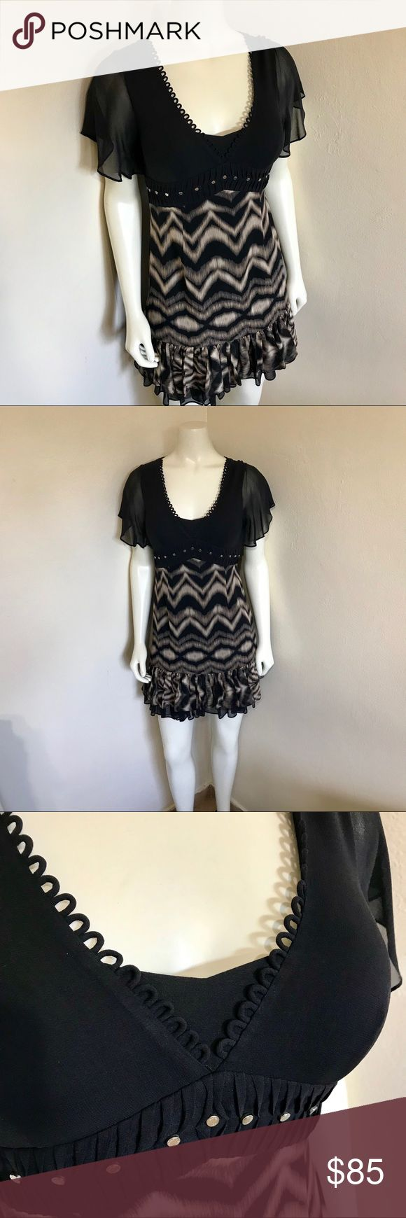 Karen Mullen Silk Chiffon Black Cocktail Dress XS Label-Karen Millen  Style-GORGEOUS Animal Print and Black Sexy Silk Chiffon Flirty Ruffled Empire Bust with Silver Studs Cocktail Dress, Short Sleeves , Side zip, fully lined. 