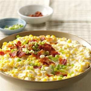 Slow Cooker Creamed Corn with Bacon Recipe -Every time we take this superrich corn to a potluck or work party, we leave with an empty slow cooker. It's decadent, homey and so worth the splurge. —Melissa Birdsong, Waleska, Georgia