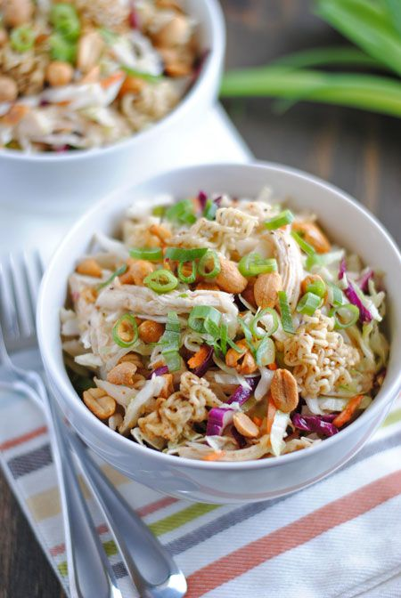Crunchy ramen noodles, chicken, sesame seeds, peanuts, and green onions with coleslaw mix and a simple, sweet vinegar dressing. Perfect for picnics!