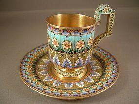 Russian Silver  Shaded Enamel Cup  Saucer: Khlebnikov 1908-1917