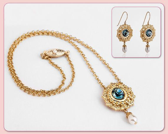 Elegant Gold Jewelry Set - Gift Set - Gold Necklace With Blue Aquamarine And Pearl + Gold Earrings With Blue Crystal And Pearl