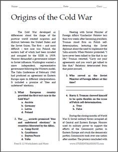 causes of the cold war thesis Origins of the cold war by michael kiesow august2007 a thesis or project submitted to the d~partment of education and human development of the state university of new york at brockport in partial fulfillment.