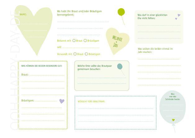 Hochzeitsgästebuch - DIY Gästebuch Hochzeit mit 4 PDF Vorlagen - ein Designerstück von OOH-HAPPY-DAY bei DaWanda