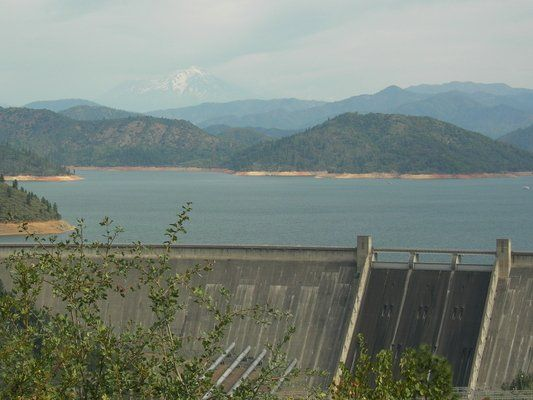 """Shasta Dam - Three Shastas: the dam, the lake, and the volcano.From I-5  """"Shasta Dam Blvd."""" exit #685 and drive west about 6 miles on Shasta Dam Boulevard to Shasta Dam (Shasta Dam Blvd. is also called """"Highway 151"""") Free Dam Tours (9:00 a.m., 11:00 a.m., 1:00 p.m., 3:00 p.m. (arrive 30 min early)"""