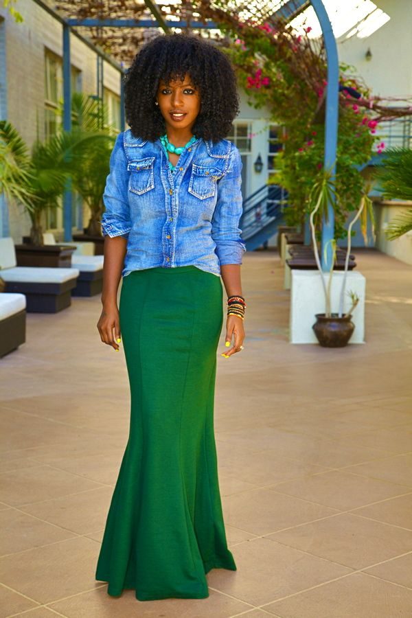 wash denim shirt fitted maxi skirt casual not