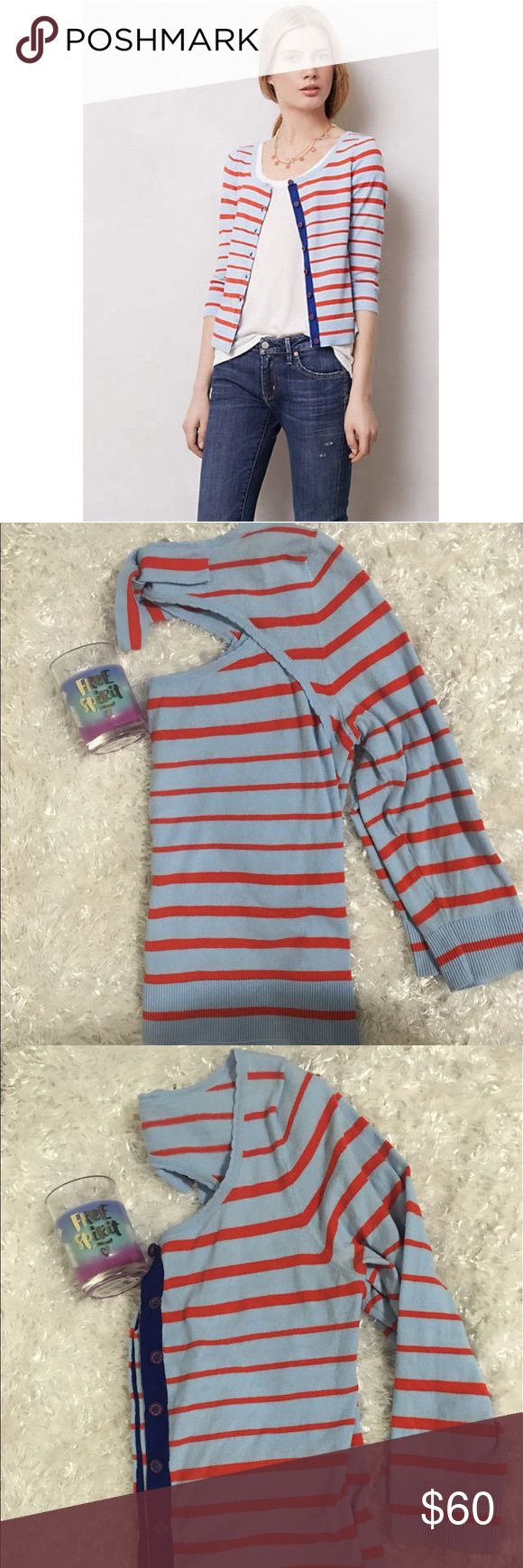 ⚓️Moth from Anthro nautical cardigan ⚓️ ⚓️⚓️⚓️ Omg! This sweater is the cutest thing!!!baby blue with red stripes!!! Cutout back with a bow!!! Cutest detailed buttons!!! Measurements: bust 16 inches length 20 inches arm length 16.5. Gently used!!! Please feel free to ask any questions and as always offers are welcome!!! Bundle & save!!!⚓️⚓️⚓️ Anthropologie Sweaters Cardigans