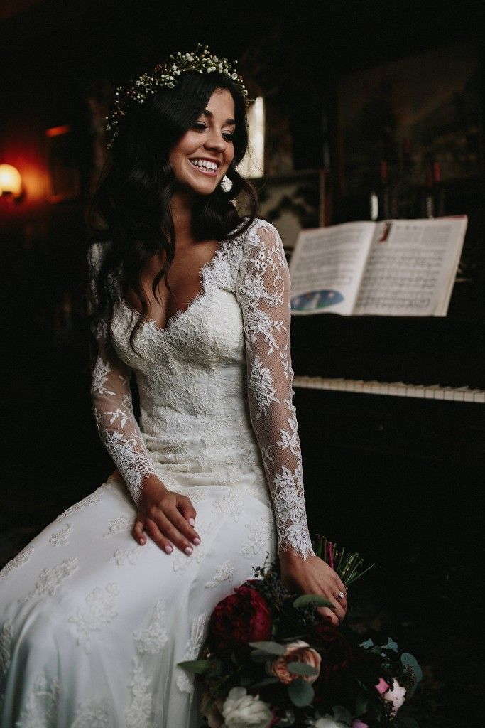 Essense of Australia Bride Ashley wearing Style D1745.