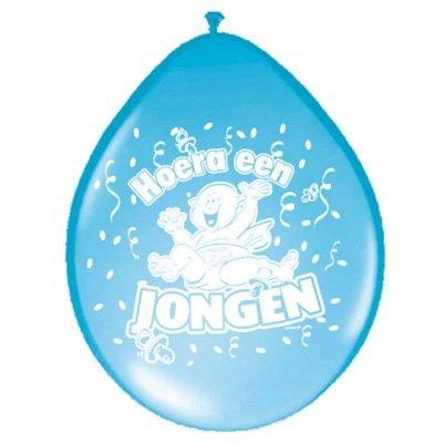 Blauwe geboorte ballonnen met de tekst Hoera een Jongen.