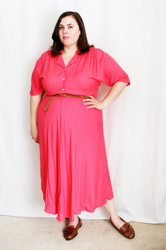 Plus Size  Vintage Coral Shirt Dress Size 16W by TheCurvyElle